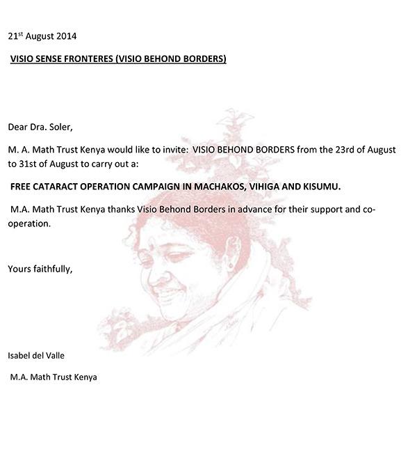 Carta Invitación M.A Math Trust Kenya