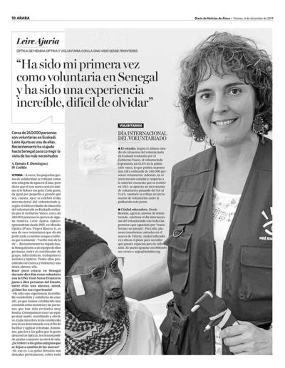 """2019 ENTREVISTA A LA VOLUNTARIA LEIRE AJURIA """"DIARIO DE NOTICIAS DE ÁLAVA"""" (1)"""